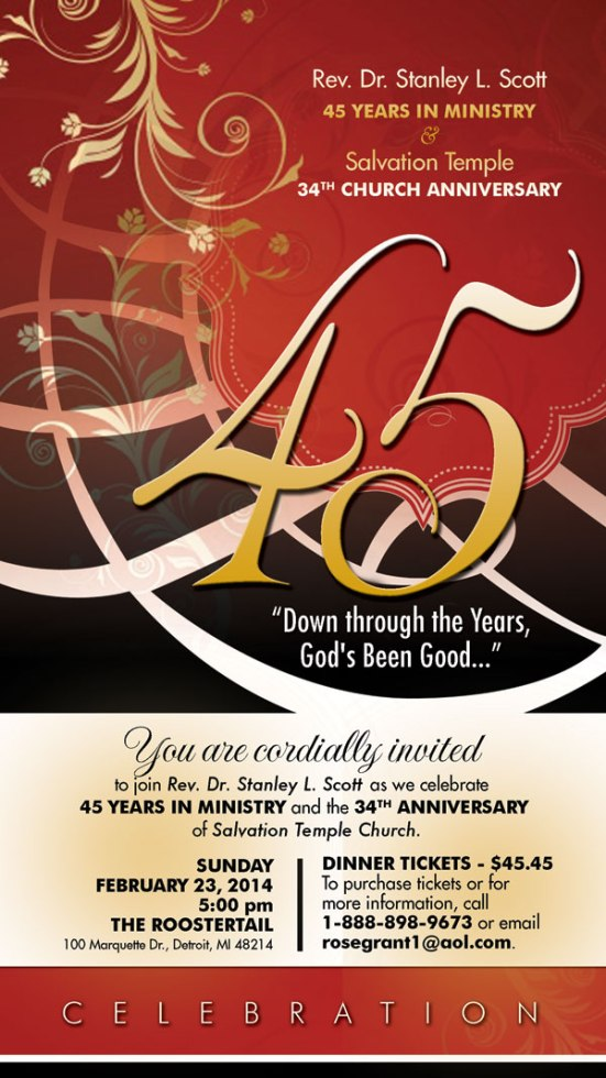 Rev. Dr. Stanley L. Scott 45th Anniversary